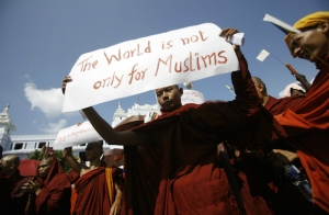 Anti-islamic monks demostrating