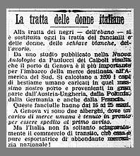 La tratta delle donne italiane, un trafiletto comparso su Il Giornale d'Italia nel 1902