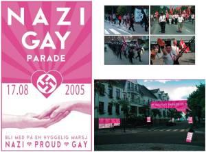 Il volantino di una parata per l'orgoglio nazi-gay in Svezia
