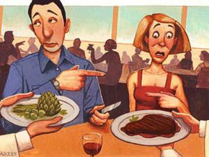 Ecco come si presenta, nello stereotipo, lo scontro (tutto culturale) tra vegetariani (femmine spaventate) e carnivori (maschi scocciati)