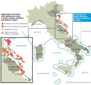 Mappa delle trivelle in Italia fornita dal Ministero dello Sviluppo Economico