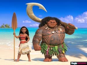 Moana e il suo compagno di viaggio, il semidio Maui