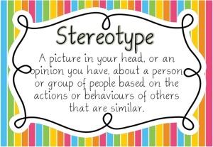 Stereotipo: una foto nella tua testa o un'opinione che hai su una persona o un gruppo di persone, basata sulle azioni o i comportamenti di altri che sono simili