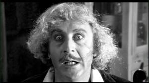 Gene Wilder nei panni del dr. Frederick Frankenstein, in Frankenstein Junior