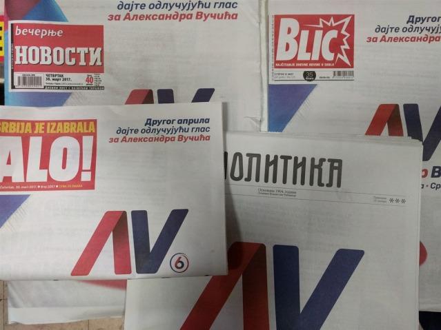 giornali Serbia comprati da Vucic