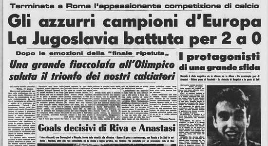 italia europei 1968 stampa